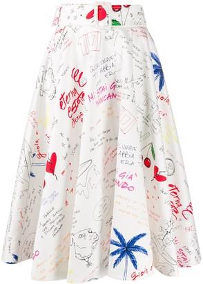 MSGM Doodle-Print Full Midi Skirt