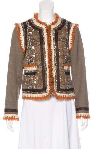 Tory Burch Tweed Fringe-Accented Blazer