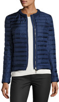 Moncler Camomille Quilted Silk Jacket, Blue