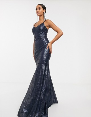 Club L London sequin prom maxi dress-Navy