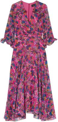 Saloni Edith Ruffled Floral-print Silk-chiffon Midi Dress