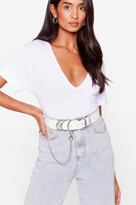 Nasty Gal Womens Never Chain-ge Faux Leather D-Ring Belt - White - ONE SIZE, White