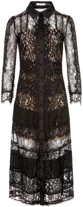 Alice + Olivia Sibella Collared Lace Midi Dress