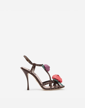 Dolce & Gabbana Sandals In Polished Cowhide With Rose Applique