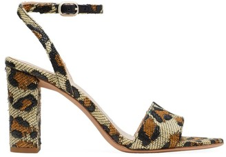 Kate Spade Odele Leopard-Print Raffia Sandals
