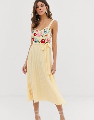 Asos Design DESIGN embroidered pleated cami midi dress-Cream