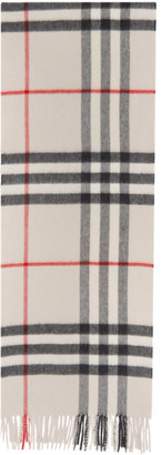 Burberry White Cashmere Check Giant Scarf