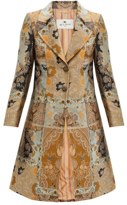 Etro Morgan Single-breasted Metallic-jacquard Coat - Silver