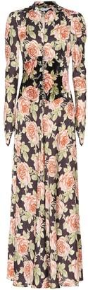 Paco Rabanne Floral velvet maxi dress