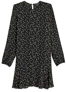 Theory Women's Star Print Puff-Sleeve Silk Flounce Shift Dress