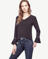 Ann Taylor Petite Lacy Bell Sleeve Top