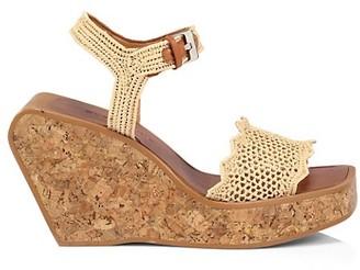 Clergerie Elinor Raffia & Cork Platform Wedge Sandals