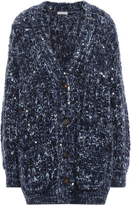 Brunello Cucinelli Sequin-embellished Marled Knitted Cardigan