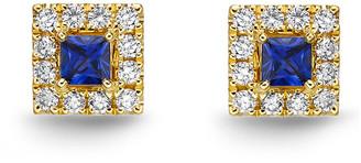 Memoire Stack 'Em Up 18K 0.45 Ct. Tw. Diamond & Blue Sapphire Earrings