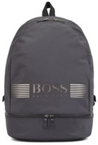 HUGO BOSS - Logo Backpack In Structured Nylon With Top Handle - Dark Grey