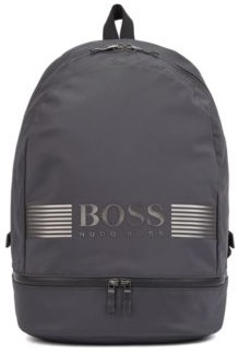 HUGO BOSS Logo Backpack In Structured Nylon With Top Handle - Dark Grey