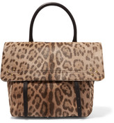 Jerome Dreyfuss Jeremie Leather-trimmed Leopard-print Calf Hair Shoulder Bag