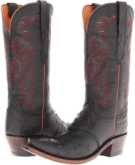Lucchese M5602 (Black Full Quill Ostrich/Black Tucson Calf) - Footwear