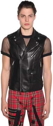 DSQUARED2 Zip-up Leather Biker Vest