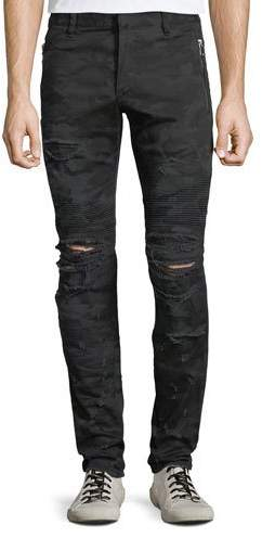 Balmain Men's Distressed Camo Straight-Leg Biker Jeans