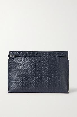 Loewe T Embossed Leather Pouch - Navy