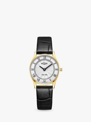 Rotary LS08303/01 Women's Ultra Slim Leather Strap Watch, Black/Silver White