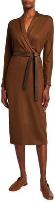 Max Mara Wool Faux-Wrap Midi Dress w/ Lamb Leather Belt