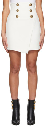 Balmain White Crepe High-Waisted Miniskirt