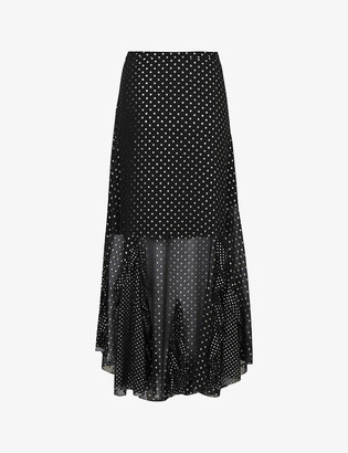 AllSaints Ilia polka dot recycled-polyester midi skirt