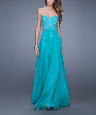 La Femme Women's Special Occasion Dresses Peacock - Peacock Lace-Accent Strapless Gown - Women