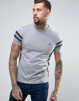Fred Perry Bomber Sleeve T-Shirt in Gray