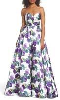 Mac Duggal Strapless Floral Ballgown