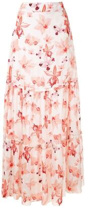 Isolda Thalita Caju Orquidea maxi skirt