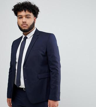 Burton Menswear Big & Tall skinny suit jacket in navy