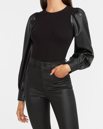 Express Fitted Vegan Leather Sleeve Sweater