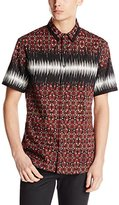Just Cavalli Men's Crinkle Short Sleeve Woven with All Over Print