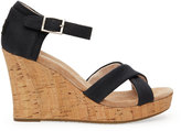 Toms Black Canvas Cork Women's Strappy Wedges