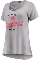 Unbranded Women's Heathered Gray Toronto Raptors Criss Cross Front Tri-Blend T-Shirt