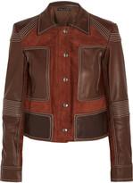 Theory Zandita leather-paneled suede jacket