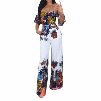 Greatestpak Jumpsuit GreatestPAK Women Sexy New Ruffle Half Sleeve Bandeau Off Shoulder Elegant Jumpsuit Floral Print Wide Leg Summer Playsuit White
