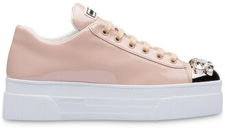 Miu Miu Patent-Leather Embellished Sneakers