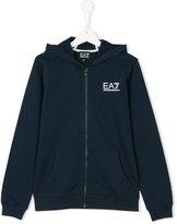 Ea7 Kids logo zipped hoodie