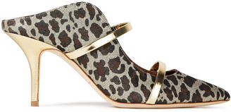 Malone Souliers Maureen 70 Leather-trimmed Leopard-print Lurex Mules