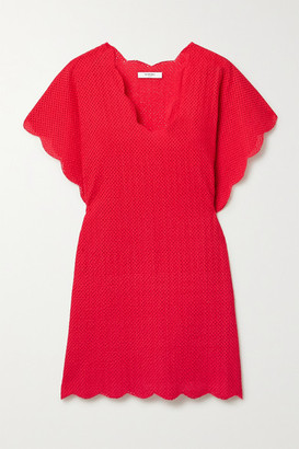 Marysia Swim Shelter Island Scalloped Perforated Cotton Mini Dress - Red