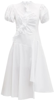 Peter Pilotto Ruffled Asymmetric Cotton Dress - White