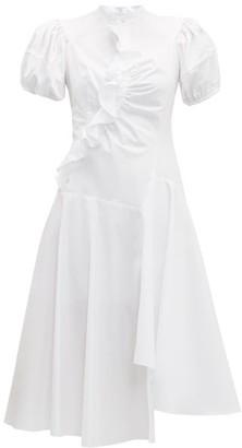 Peter Pilotto Ruffled Asymmetric Cotton Dress - Womens - White
