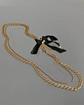 gold 'Audrey' bow pendant layered necklace