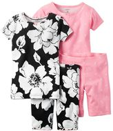 Carter's Girls 4-10 4-pc. Floral Tee & Shorts Pajama Set
