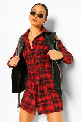 boohoo flannel Lace Up Shirt Dress