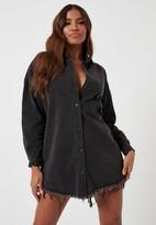 Missguided Tall Black Oversized Denim Shirt Dress